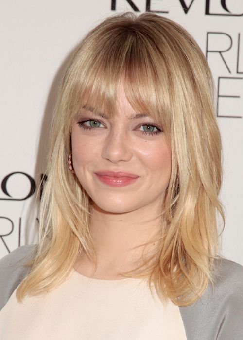 emma stone bangs and layers hairstyles pinterest