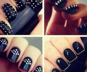 black, cool, nail art, nails