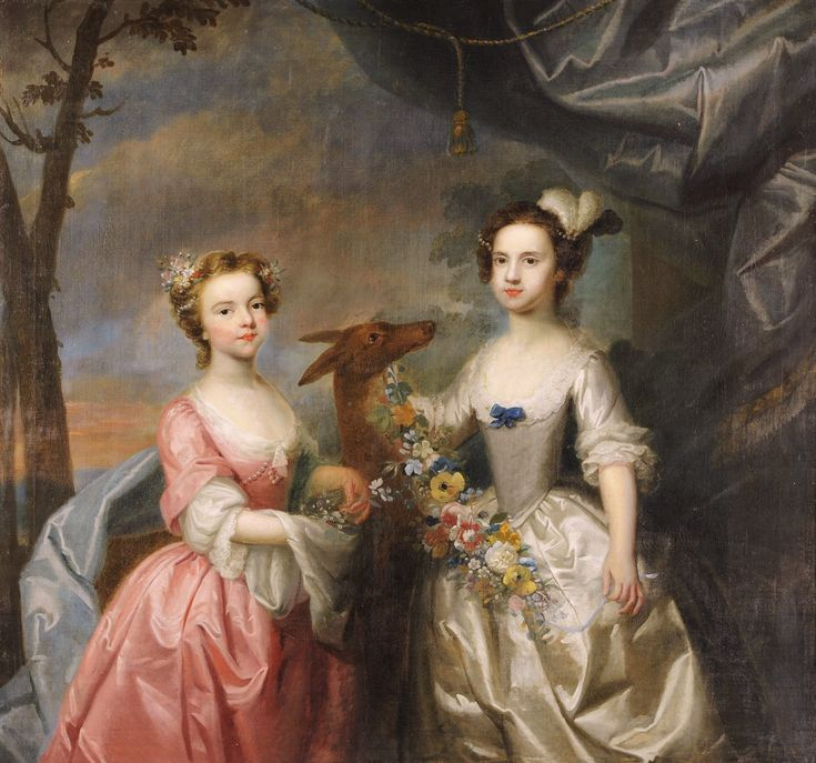 Circle of Joseph Highmore (English artist, 1692-1780) Daughters of Crisp Molineaux, Elizabeth.