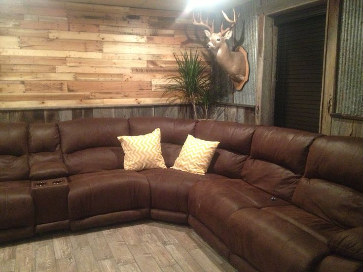 pallet wall barn wood tin in basement for the home pinterest