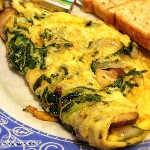 Mushroom, Spinach And Feta Omelet Recipe — Dishmaps