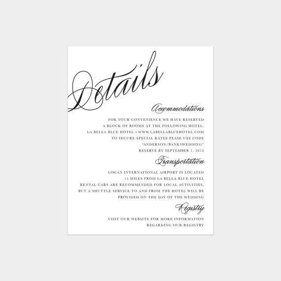 Calligraphy Details Enclosure Cards