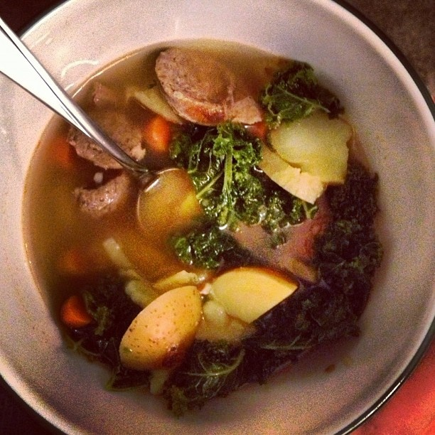Kale & Potato soup with spicy turkey sausage - great recipe from ...