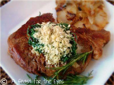 ... Eye Dinner with Creamed Swiss Chard & Caramelized Onion Potato Tart