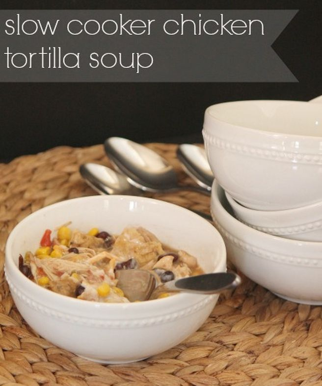 Slow Cooker Chicken Tortilla Soup - perfect to throw together for easy ...
