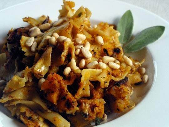 pasta with butternut squash, sage, and pine nuts