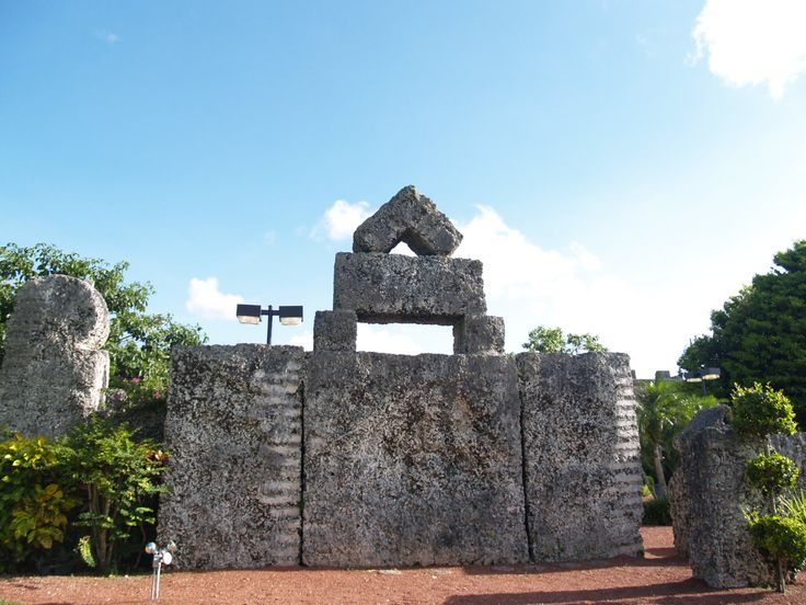 The most famous of all the structures at Coral Castle was the stone swinging door, which could be conveniently opened by just using your pinky finger. As it turned out, the door operated on a metal rod that had been inserted into the door, which had been drilled from top to bottom by hand. The door sat on a truck bearing that allowed the door to open smoothly, even by a slight change in the velocity of the wind.