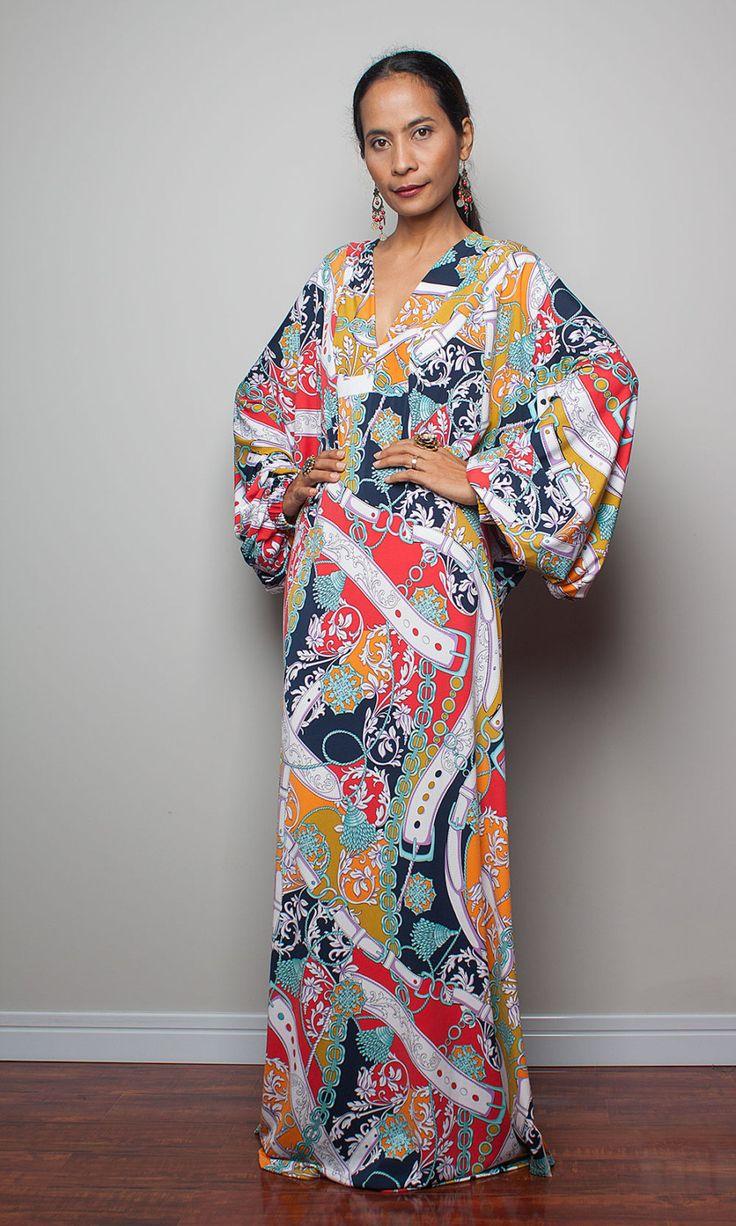 Boho maxi dress long wide sleeve bohemian dress funky by nuichan 58