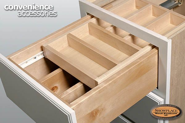 this cutlery drawer features a sliding upper tray so excited: organizer drawer showplace kitchen convenience accessories