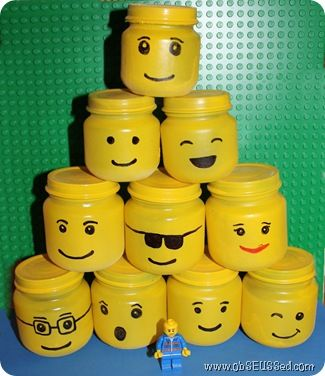 LEGO head jars... would be a cute way for the kids to store their minifig bits!  From ObSeussed.