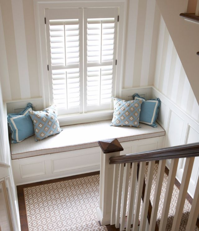 Window seat on staircase landing nooks window Window seat reading nook