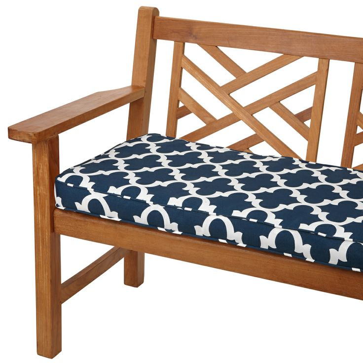 Scalloped Navy 60 Inch Indoor Outdoor Corded Bench Cushion