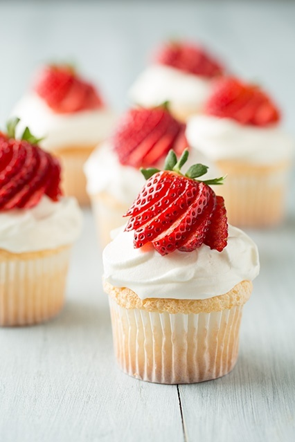 ... for cream cheese-whipped cream toppings.....Angel Food Cupcakes