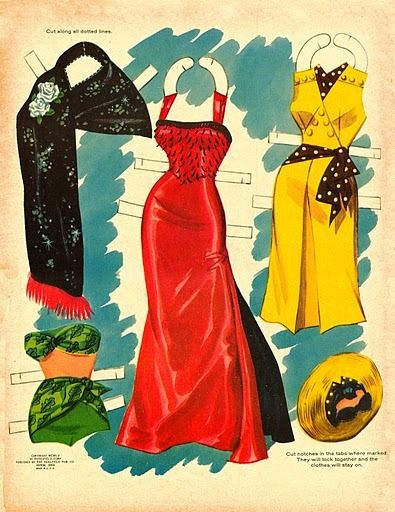 Jane Russell paper doll clothes