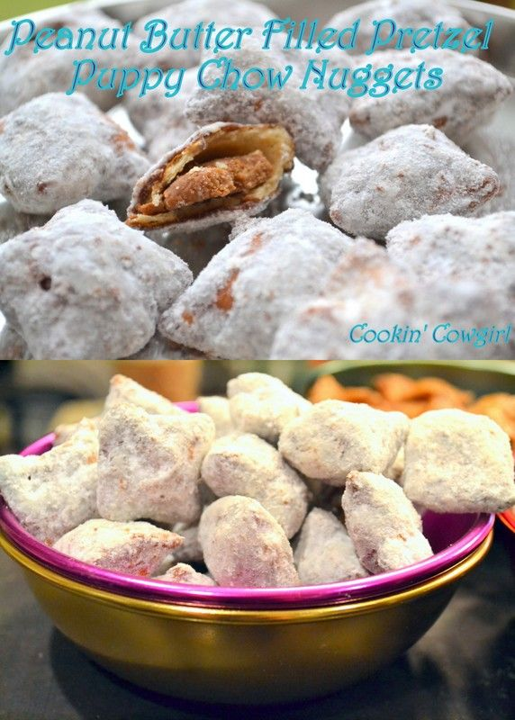 Peanut Butter Filled Pretzel Puppy Chow Nuggets!