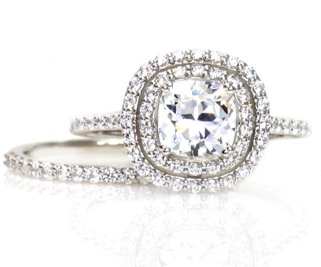 Double Halo Wedding Set Cushion Moissanite Engagement Ring & Wedding