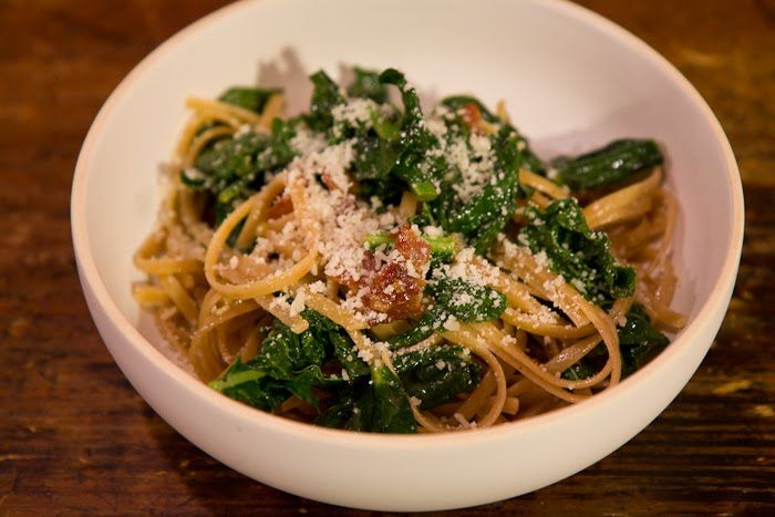 Spaghetti Carbonara with Garlicky Greens | Edibles | Pinterest