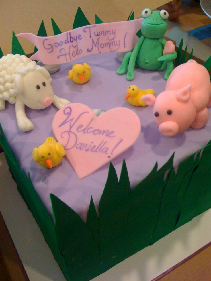 Baby shower cake, farm animals
