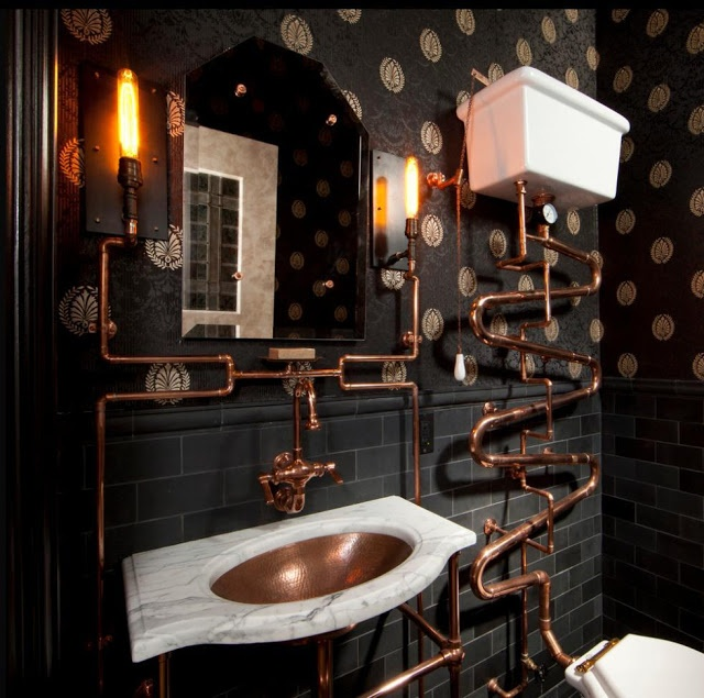 Black and copper bathroom bathroom pinterest for Copper bathroom ideas