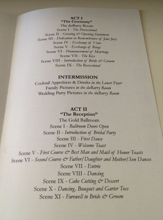 playbill theater wedding program or invitation 8 page