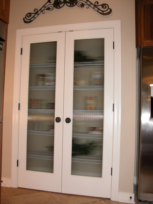 Glass pantry doors with frosted glass - Full Veiw Double Pantry Doors Pattern Resembles Clear Corduray