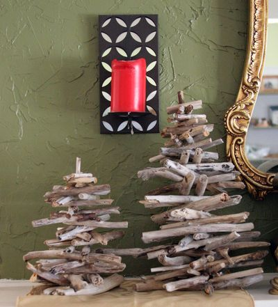 Driftwood Christmas Trees (my mom made these!)