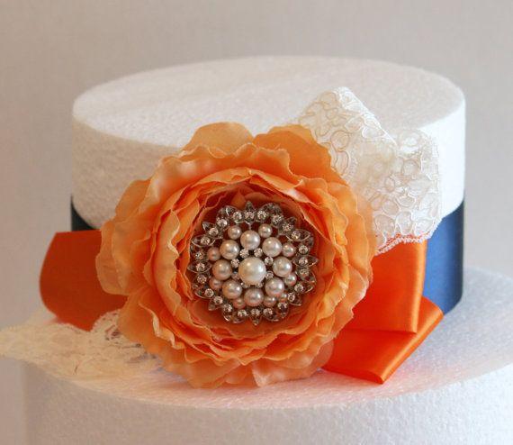 Pastel Orange and Navy Wedding Cake Decorations, Orange ...