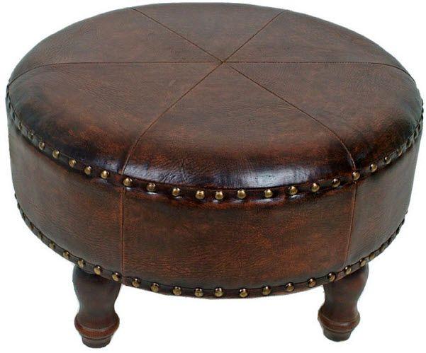 Round Leather Ottoman Beach House Pinterest