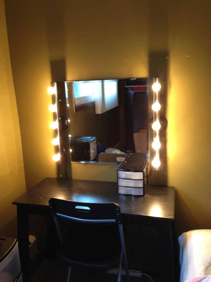 diy vanity i used a mirror and light sets from ikea and a writing. Black Bedroom Furniture Sets. Home Design Ideas
