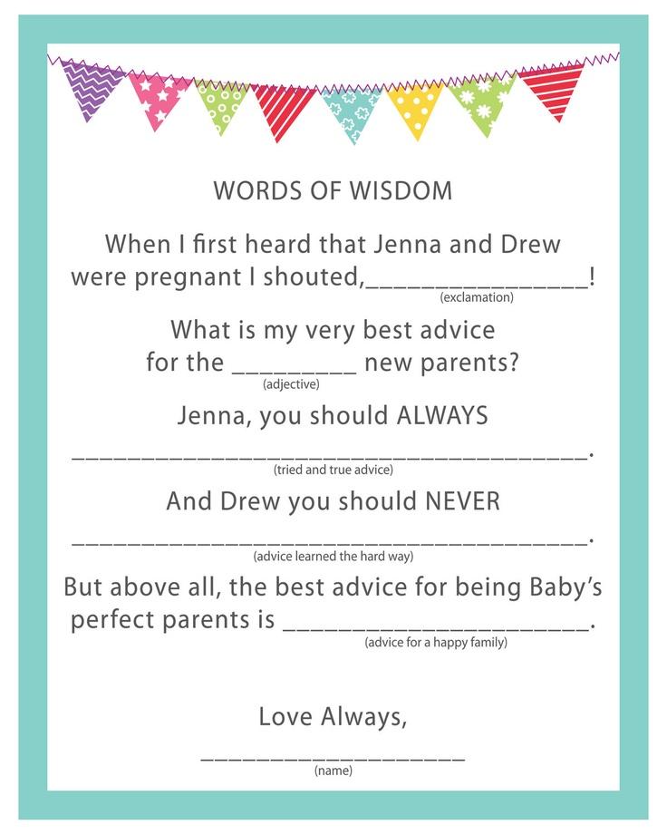 baby shower game activity words of wisdom pdf via etsy