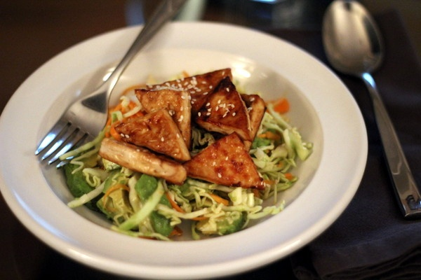 Glazed Sesame Tofu and Avocado Salad with Miso Dressing | Recipe