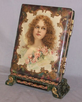 ~Large Antique Victorian Photo Album w/ Woman Portrait Front~