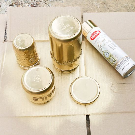 upcycle it gold spray painted glass jar organizers neat to put. Black Bedroom Furniture Sets. Home Design Ideas