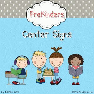 printable center signs from www.prekinders.com via www.preschoolspot.com