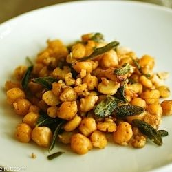 Chickpeas are combined with walnuts and fresh sage leaves fried in ...