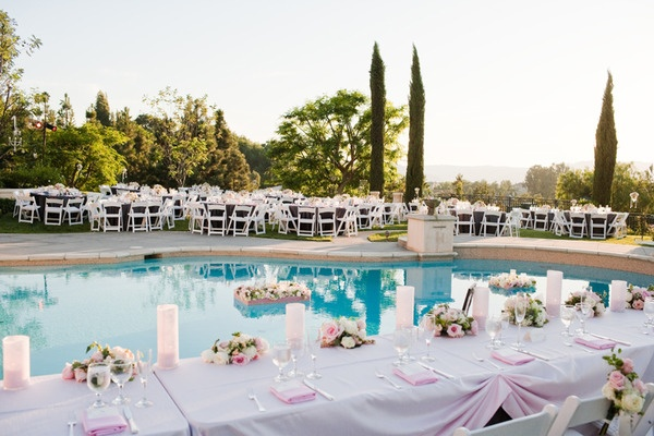 Outdoor set up reception by the pool weddings pinterest for Garden pool wedding