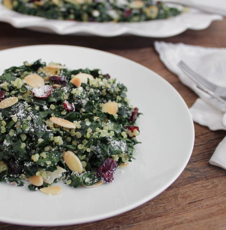 Kale Salad with Quinoa, Cranberries and Toasted Almonds. Because kale ...