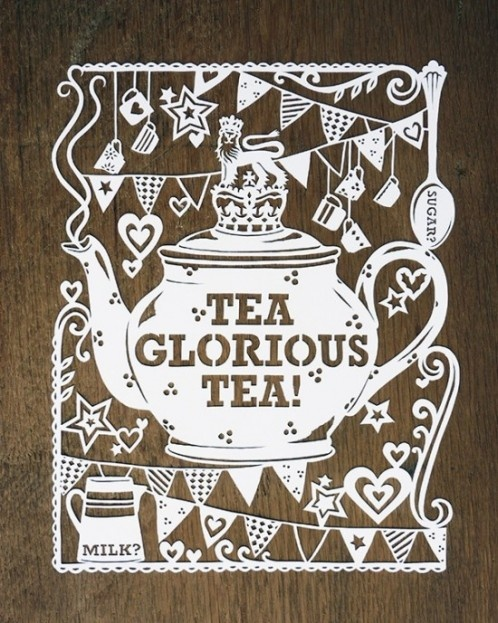 Tea, glorious tea!  Paper art by Julene Harrison.