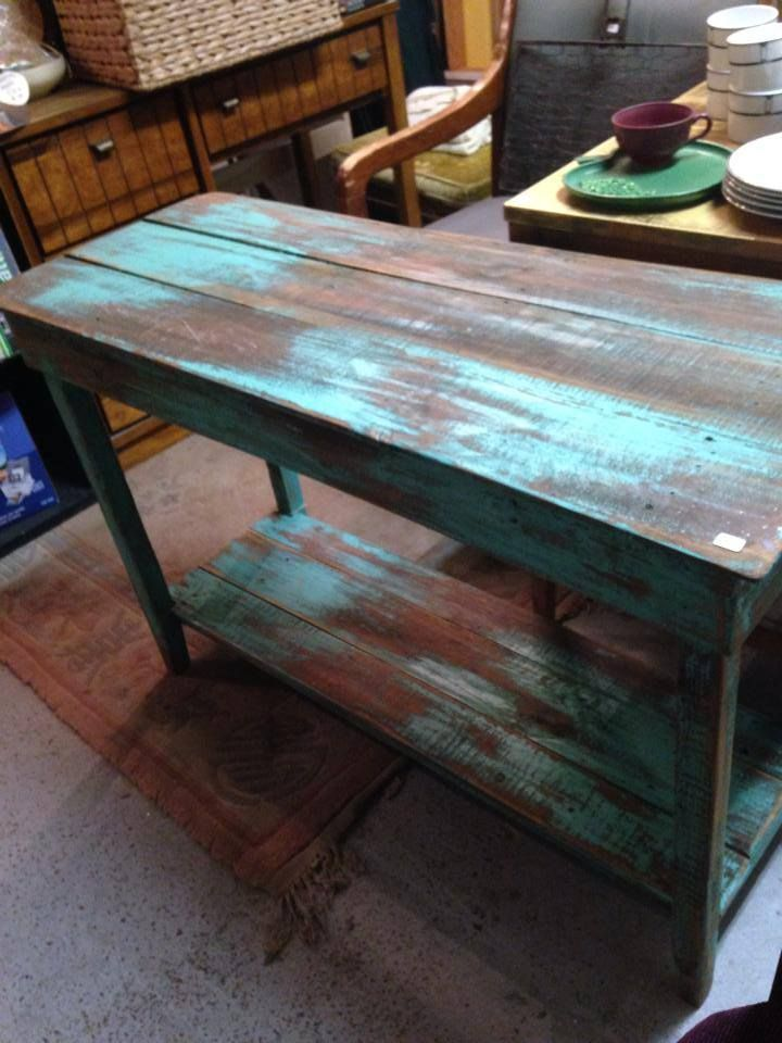 blue teal reclaimed table