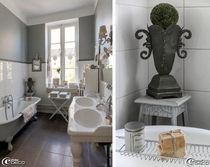 chinée peinte en gris et double vasque sur colonnes Leroy Merlin