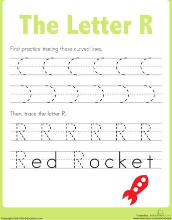 practice tracing the letter r. Black Bedroom Furniture Sets. Home Design Ideas