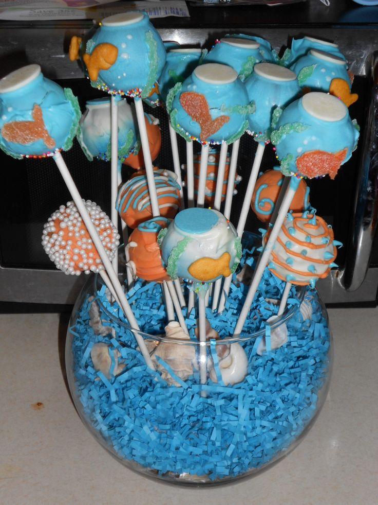 fish bowl cake pops for ocean finding nemo themed baby shower