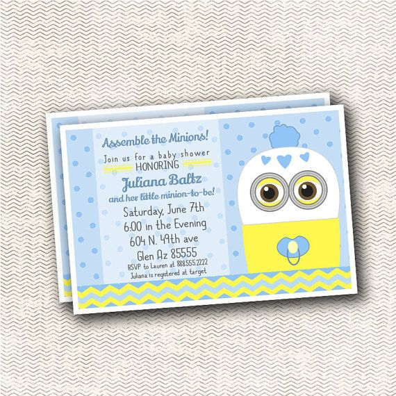 despicable minion baby shower invitation