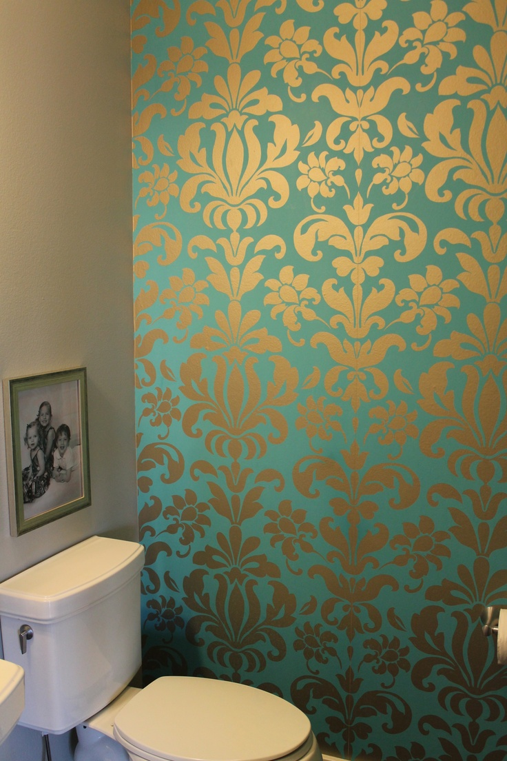 Teal and silver damask wallpaper two years later and i for Wall paper in bathroom