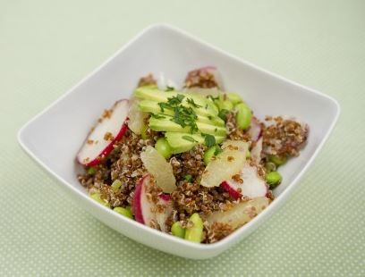 Avocado, Quinoa, and Edamame Salad | things I need to cook | Pinterest