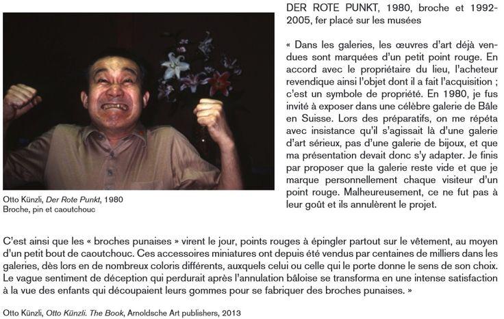 EXPO mudac_ Otto Kunzli - der rote punkt - 1980, broche et 1992, 2005