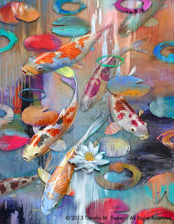 Contemporary koi art koi fish modern painting for Japanese koi fish painting