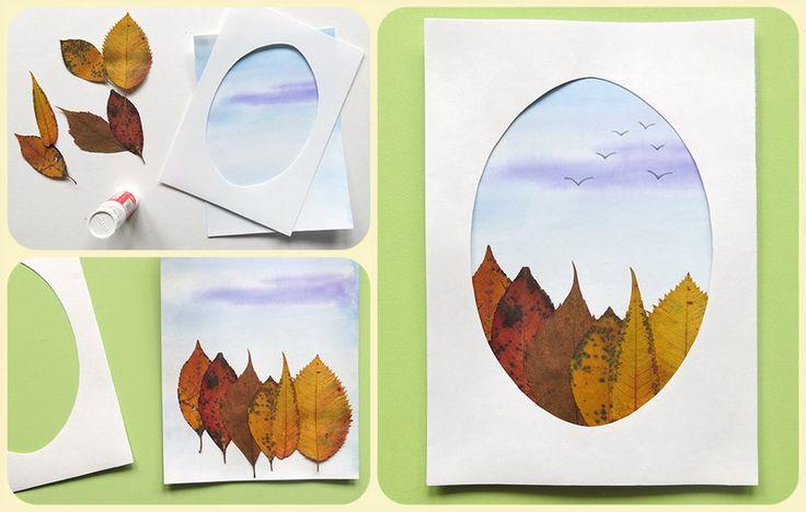 Открытки своими руками осенних листьев