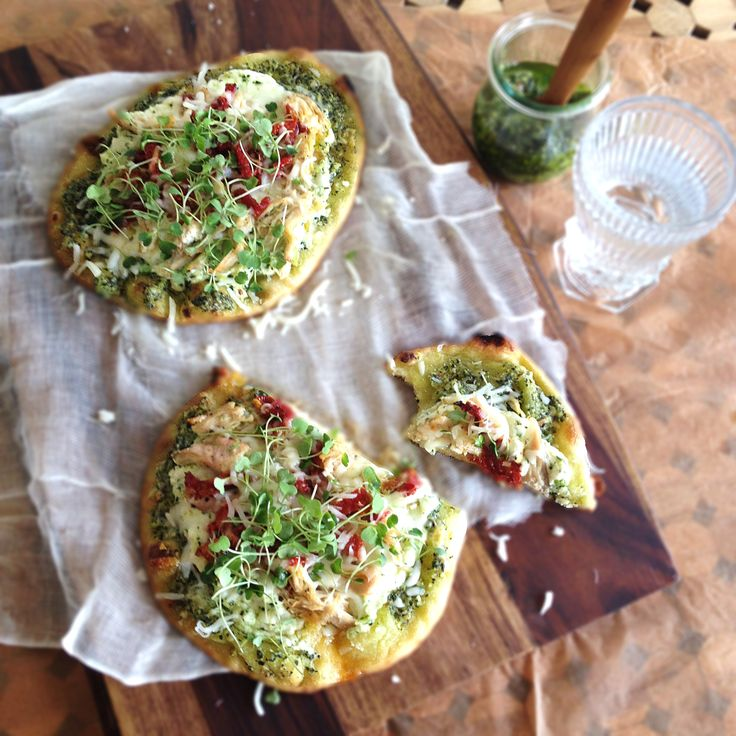 Turkey, sun dried tomato and ricotta pizza with kale pesto from http ...