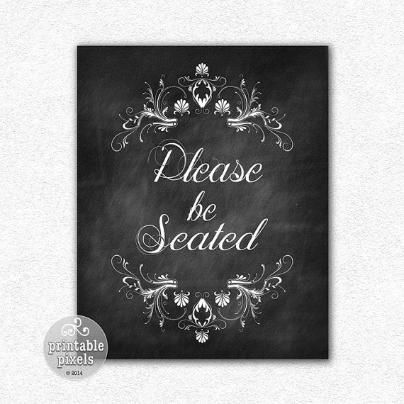 Please be seated 8x10 chalkboard funny quote by printablepixels 5 00